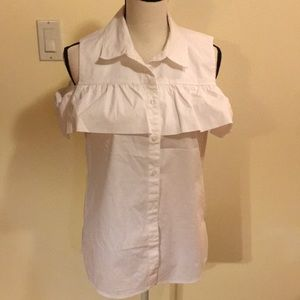 Cotton ruffle cold-shoulder shirt